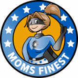 Superhero mom wearing blue super suit and black face mask